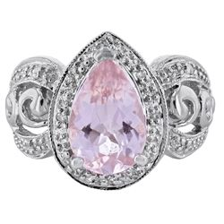 14KT White Gold 3.20ct Morganite and Diamond Ring