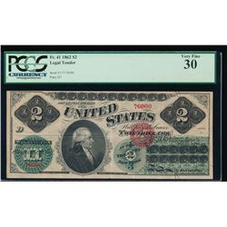 1862 $2 Legal Tender Note PCGS 30
