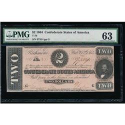 1864 $2 Confederate States of America Note PMG 63