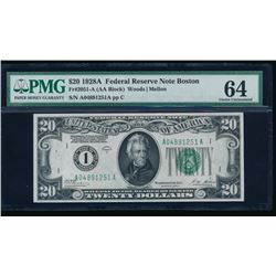 1928A $20 Boston Federal Reserve Note PMG 64