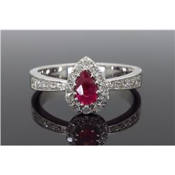 14KT White Gold 0.40ctw Ruby and Diamond Ring