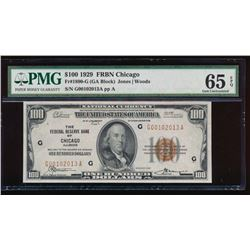 1929 $100 Chicago Federal Reserve Bank Note PMG 65EPQ