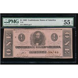 1862 $1 Confederate States of America Note PMG 55EPQ