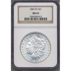 1883-CC $1 Morgan Silver Dollar Coin NGC MS65