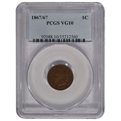 1867/67 Indian Cent Coin PCGS VG10