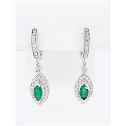 14KT White Gold Emerald and Diamond Earrings