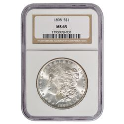 1898 $1 Morgan Silver Dollar Coin NGC MS65