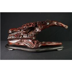 "A Large Rosewood Carved ""Figures and Landscape"" Decoration."