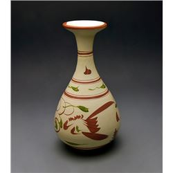 "A ""Ci Zhou"" Kiln Painted Green and Red Bottle Vase"