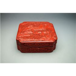 A Carved Cinnabar Lacquer Square Box with Immortal Pattern