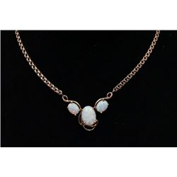14K Gold Necklace Inlaid with Faux Opal