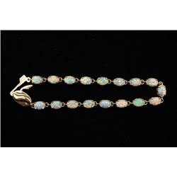 18K Gold Bracelet Inlaid with Faux Opal