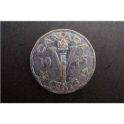 A 1945 Canada 5 Cents Coin.