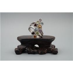 A 925 Silver Ring Inlaid with Multi Gemstones