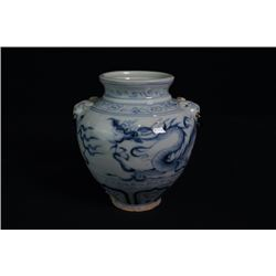 """A Blue-and-White """"Dragon"""" Jar with Two Ears."""