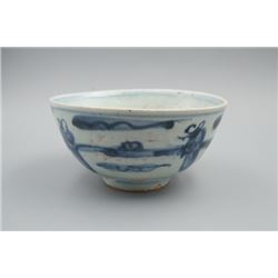 """A Blue-and-White """"Figures"""" Small Bowl."""
