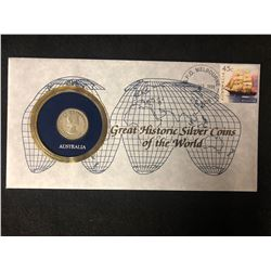 GREAT HISTORIC SILVER COINS OF THE WORLD SOLID SILVER .900 COIN AND FIRST DAY COVER