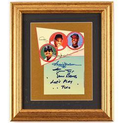 Willie Mays, Ernie Banks & Reggie Jackson Signed 12.75x14.75 Custom Framed Photo Display (PSA LOA)