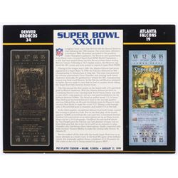 Commemorative Super Bowl XXXIII 9x12 Score Card Display With 23kt Gold Ticket