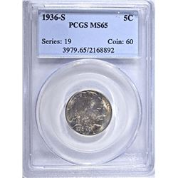 1936-S BUFFALO NICKEL, PCGS MS-65