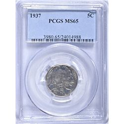 1937 BUFFALO NICKEL, PCGS MS-65