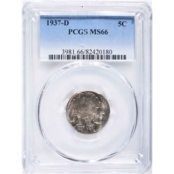1937-D BUFFALO NICKEL, PCGS MS-66