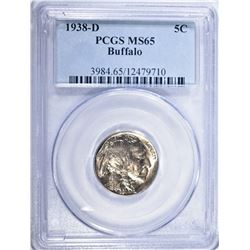 1938-D BUFFALO NICKEL, PCGS MS-65