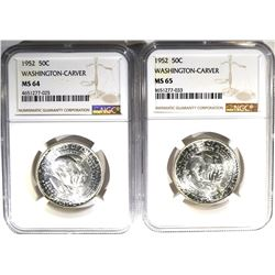 1952 WASH-CARVER HALVES NGC 1- MS-64 & 1-MS 65