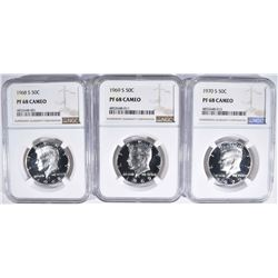 3 CAMEO PROOF KENNEDY HALVES NGC PF-68 CAMEO