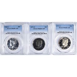 3 PROOF KENNEDY HALVES PCGS PR-68 CAM