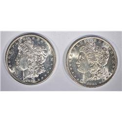 1881-O & 81-S CH BU MORGAN DOLLARS