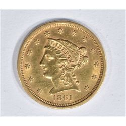 1861 $2 1/2 GOLD LIBERTY  BU