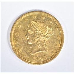 1843-O $10 GOLD LIBERTY  BU