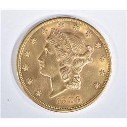 1906 $20 GOLD LIBERTY  GEM BU
