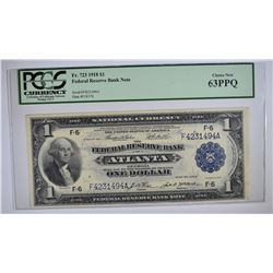 1918 $1 FEDERAL RESERVE BANK NOTE PCGS 63PPQ