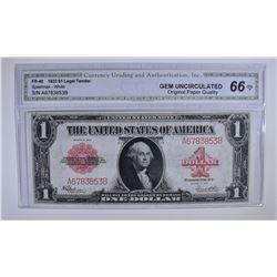 1923 $1 LEGAL TENDER U.S. NOTE RED SEAL