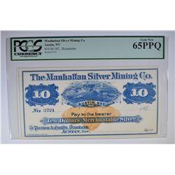 1870's $10 MANHATTAN SILVER CO.