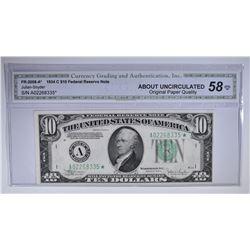 1934 C $10 FEDERAL RESERVE NOTE CGA AU-OPQ