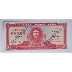 """1986 3 PESOS CUBA """"CHE GUEVARRA"""""""