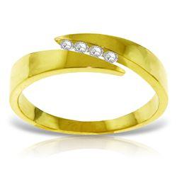 Genuine 0.12 ctw Diamond Anniversary Ring Jewelry 14KT Yellow Gold - REF-54Y5F