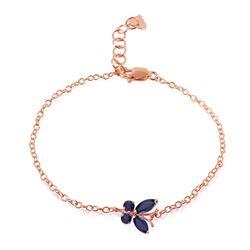 Genuine 0.60 ctw Sapphire Bracelet Jewelry 14KT Rose Gold - REF-44M7T