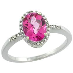 Natural 1.2 ctw Pink-topaz & Diamond Engagement Ring 14K White Gold - REF-23F2N