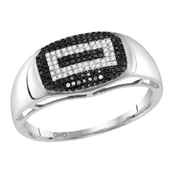 0.27 CTW Mens Black Color Diamond Rectangle Cluster Ring 10KT White Gold - REF-30F2N