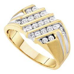0.52 CTW Mens Diamond Cluster Ring 10KT Yellow Gold - REF-44H9M