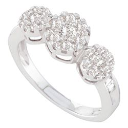 0.75 CTW Diamond Triple Flower Cluster Ring 14KT White Gold - REF-82X4Y