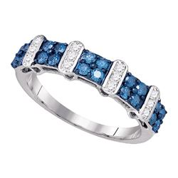 0.70 CTW Blue Color Diamond Ring 10KT White Gold - REF-40K4W