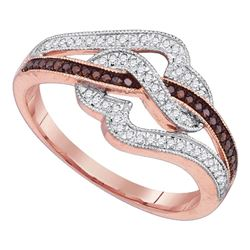 0.25 CTW Red Color Diamond Heart Ring 10KT Rose Gold - REF-32Y9X