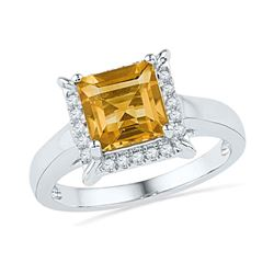 1.87 CTW Cushion Created Citrine Solitaire Diamond Ring 10KT White Gold - REF-31M4H