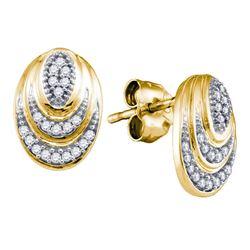 0.12 CTW Diamond Oval Stud Earrings 10KT Yellow Gold - REF-18F2N