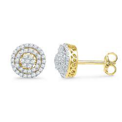 0.50 CTW Diamond Cluster Screwback Earrings 10KT Yellow Gold - REF-37Y5X